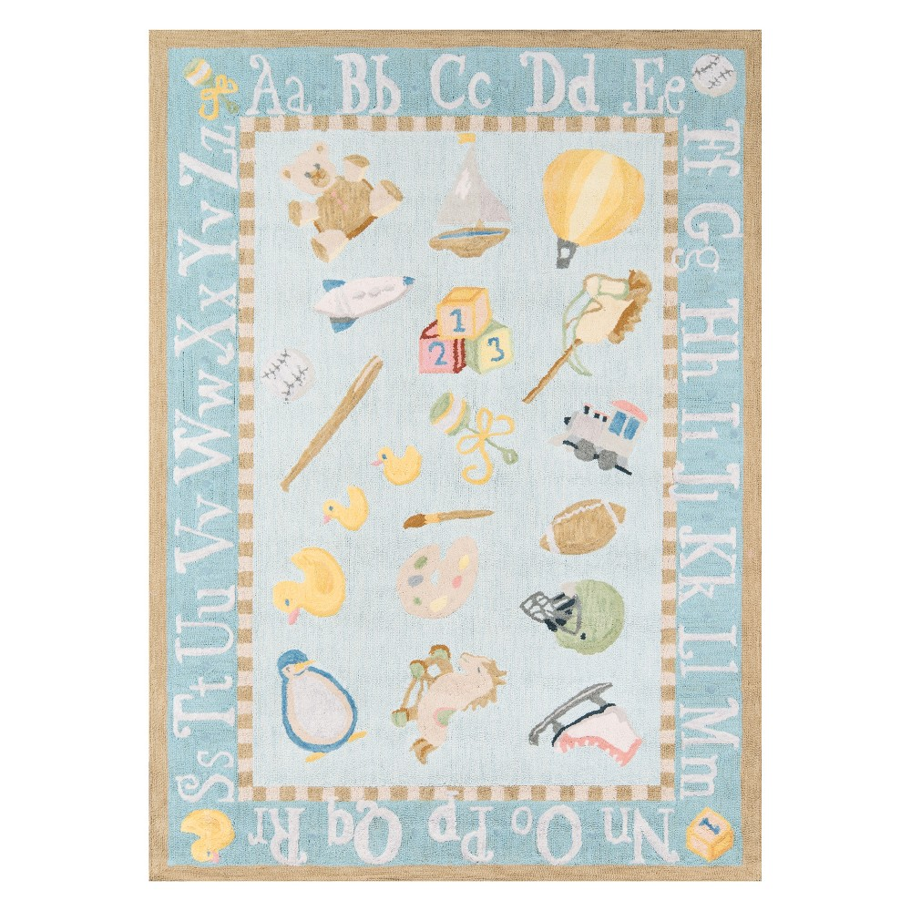 3'X5' Letters Hooked Accent Rug Baby Blue - Momeni