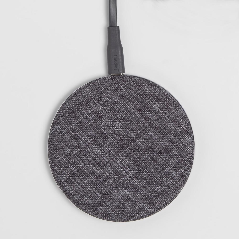 heyday Qi Wireless Fabric Charging Puck - Gunmetal (Grey) heyday Qi Wireless Fabric Charging Puck - Gunmetal