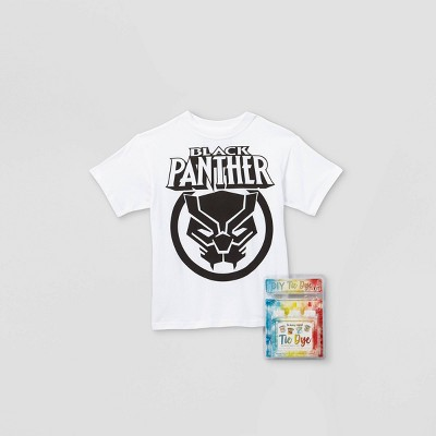 Kids' Marvel Black Panther Short Sleeve Graphic T-Shirt with Tie-Dye Kit - White