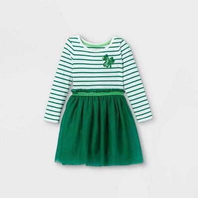 Toddler Girls' Shamrock Tulle Long Sleeve Dress - Cat & Jack™ Green
