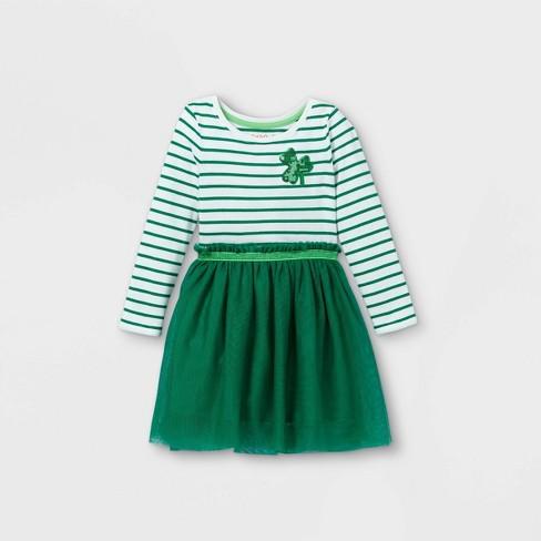 Toddler Girls' Shamrock Tulle Long Sleeve Dress - Cat & Jack™ Green - image 1 of 2