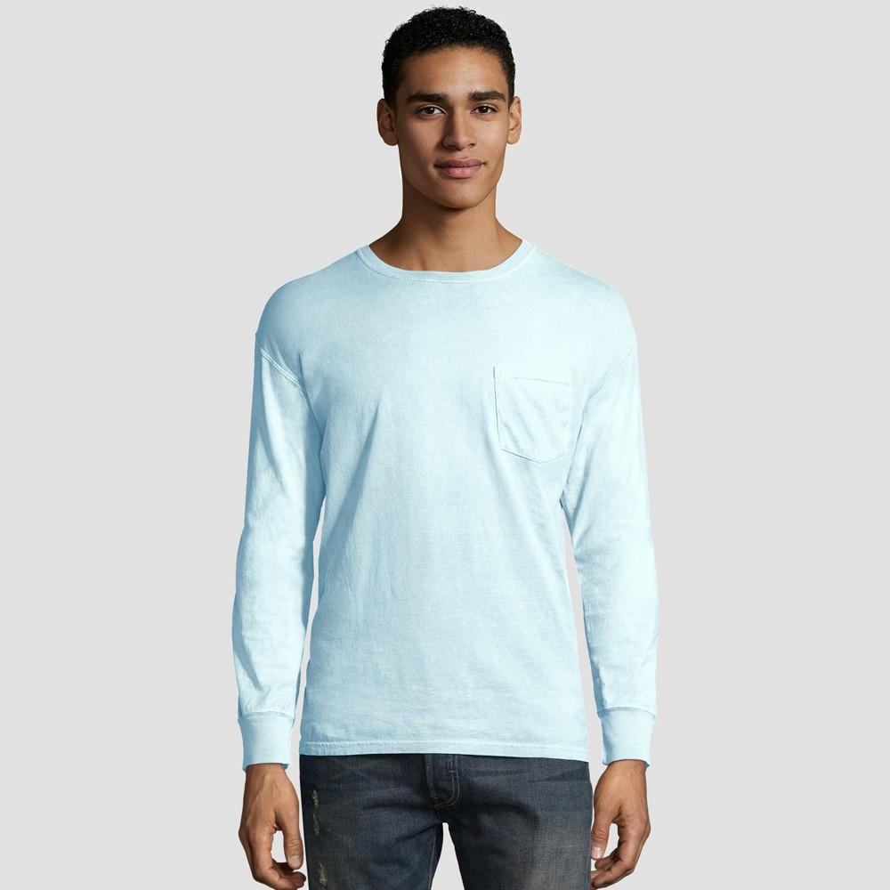 Best Review Hanes Men Long Sleeve 1901 Garment Dyed Pocket T Shirt Blue M