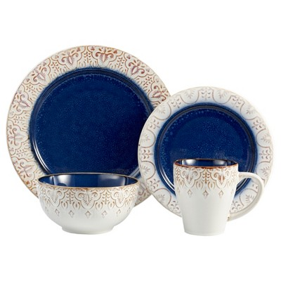 American Atelier Granada 16pc Dinnerware Set - Blue, White
