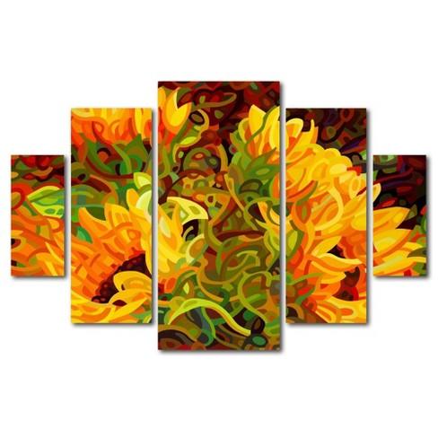 5pc Four Sunflowers by Mandy Budan - Trademark Fine Art - image 1 of 4
