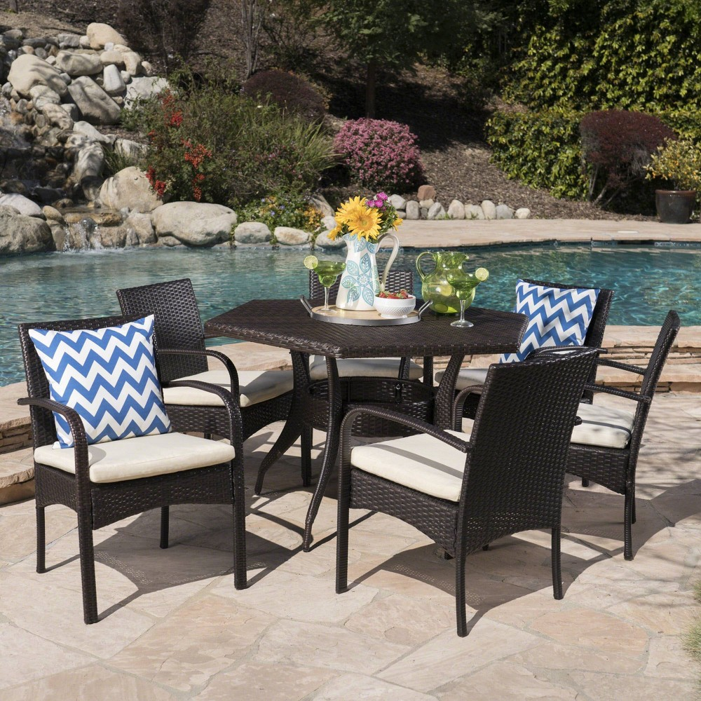 Calder 7pc Wicker Dining Set - Brown/Cream (Brown/Ivory) - Christopher Knight Home