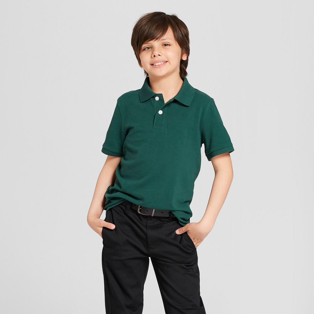 Boys' Short Sleeve Pique Uniform Polo Shirt - Cat & Jack Green M
