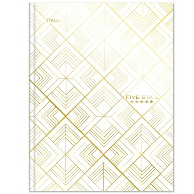 Five Star 150 sheet College Ruled Composition Notebook Metallic Geo Hardcover White Diamonds