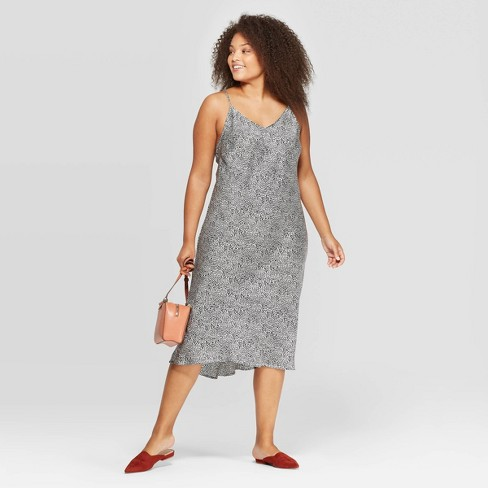 Women's Plus Size Animal Print Sleevelss V-Neck Midi Shiftdress - A New Day™ White/Black - image 1 of 3