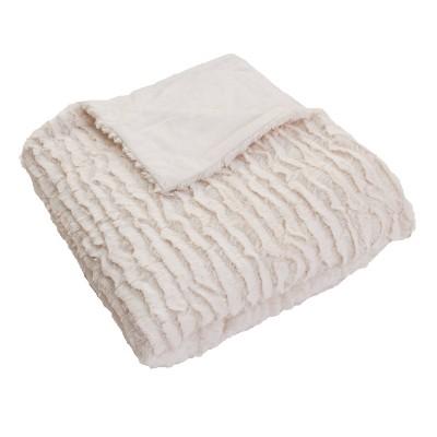 2pk Rachel Ruffle Square Throw Pillows and Throw Blanket White - Decor Therapy