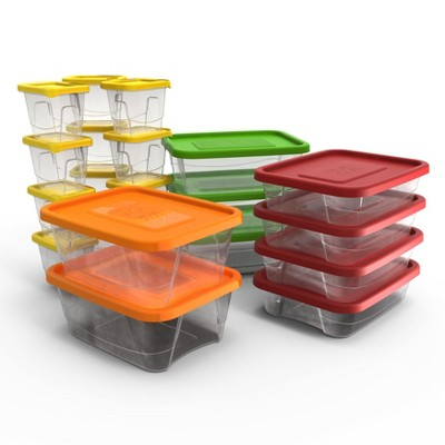 Plas Glas STP42 42 Piece Stackable BPA Free Plastic Food Storage Lunch Containers and Lids Set with 4 Sizes, Microwave, Dishwasher, and Freezer Safe