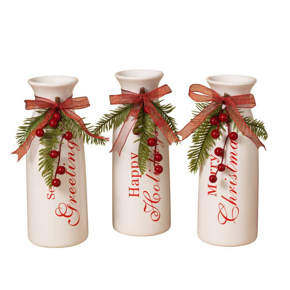 "Image of ""3ct/9.5"""" Dolomite Holiday Milk Decorative Vases - Gerson International, White"""