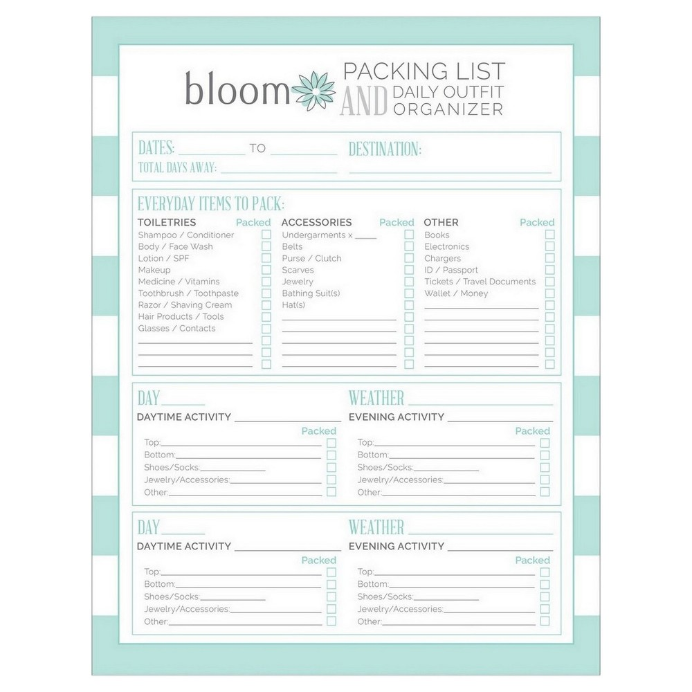 Packing List Pad (8.5