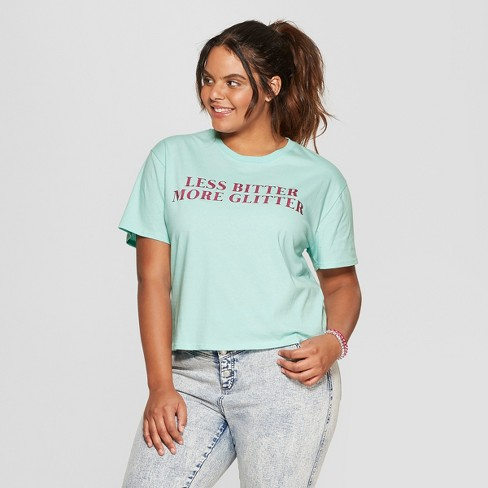 99c454377a2 Women s Plus Size Short Sleeve Less Bitter More Glitter Cropped Graphic T- Shirt - Mighty Fine (Juniors ) Mint Green