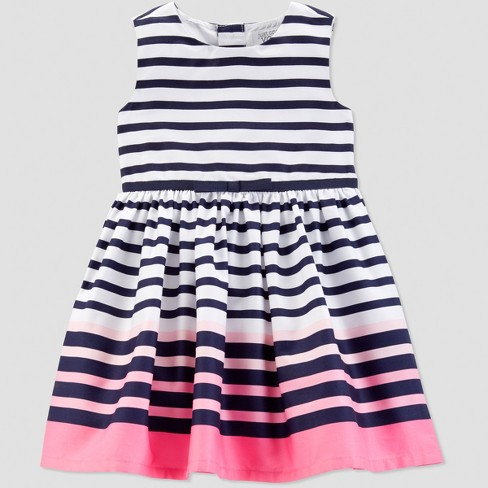 Toddler Girls' Stripe Dress - Just One You® made by carter's Navy/Pink - image 1 of 1