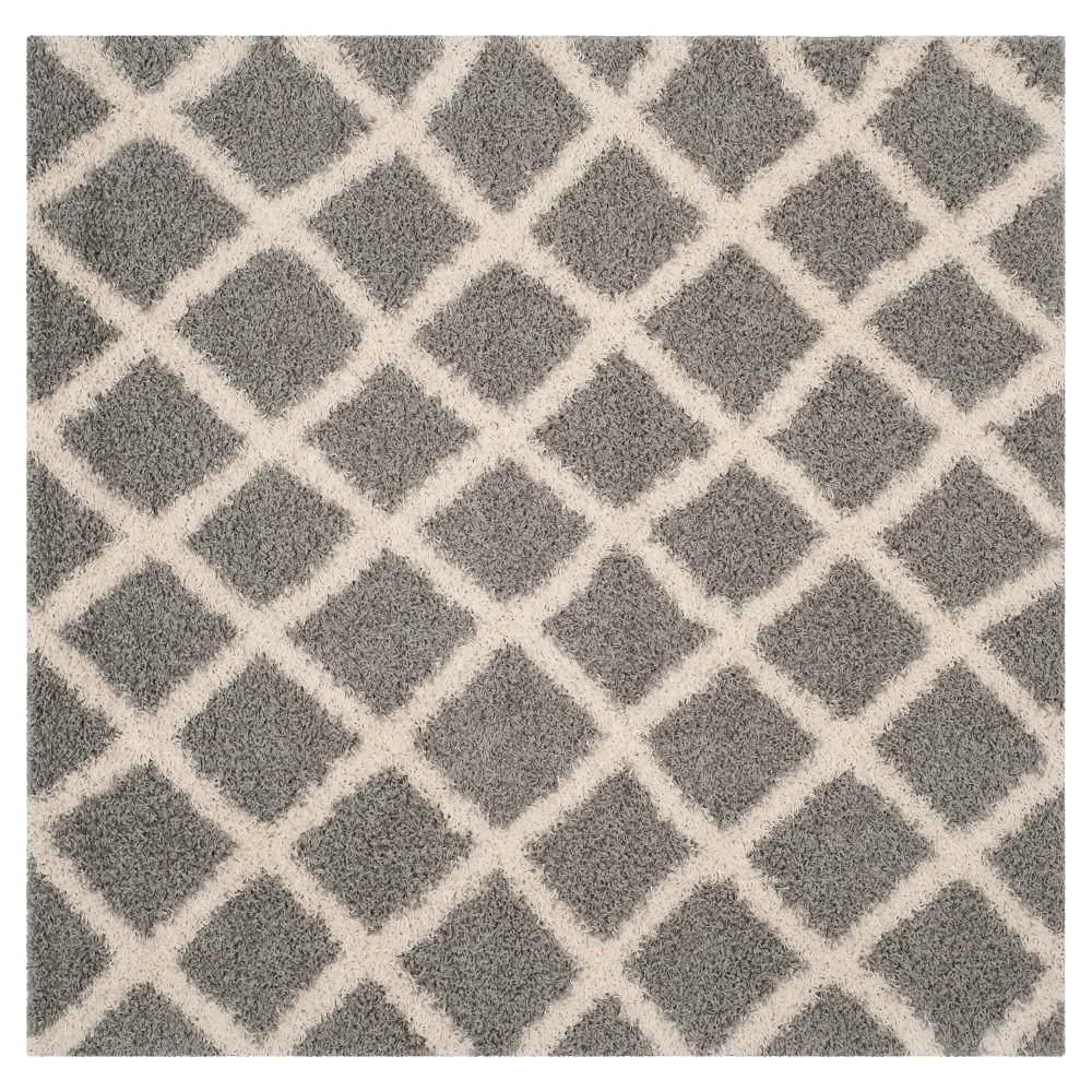 Gray/Ivory Geometric Loomed Square Area Rug - (6'X6') - Safavieh