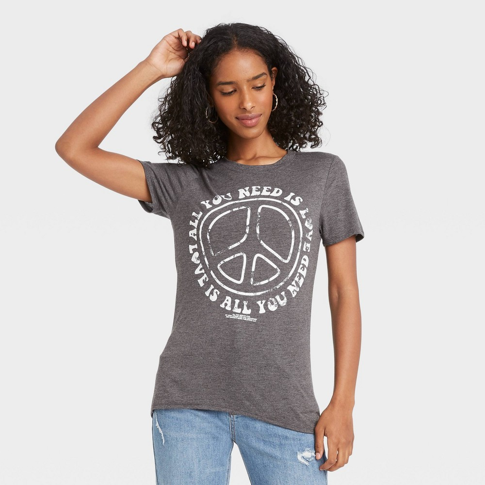 Women 39 S The Beatles All You Need Is Love Short Sleeve Graphic T Shirt Heather Gray Xl