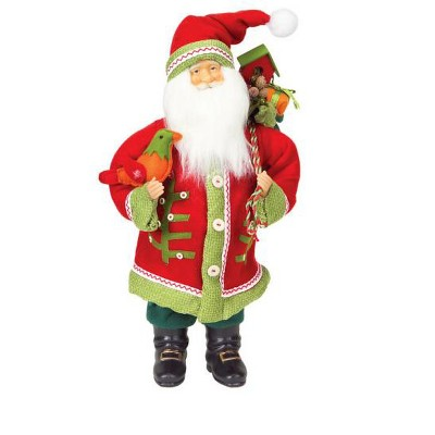 """Northlight 20"""" Red and Green Santa Claus with Bird Christmas Tabletop Figurine"""