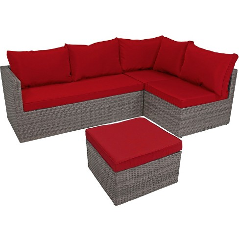 4pc Port Antonio Wicker Rattan Patio Sofa Sectional Set with Cushions -  Dark Red - Sunnydaze Decor - 4pc Port Antonio Wicker Rattan Patio Sofa Sectional Set With