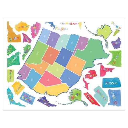 Wallies® Wall Play US State Map Peel & Stick Dcor : Target