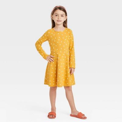 Girls' Printed Long Sleeve 100% Cotton Knit Dress - Cat & Jack™