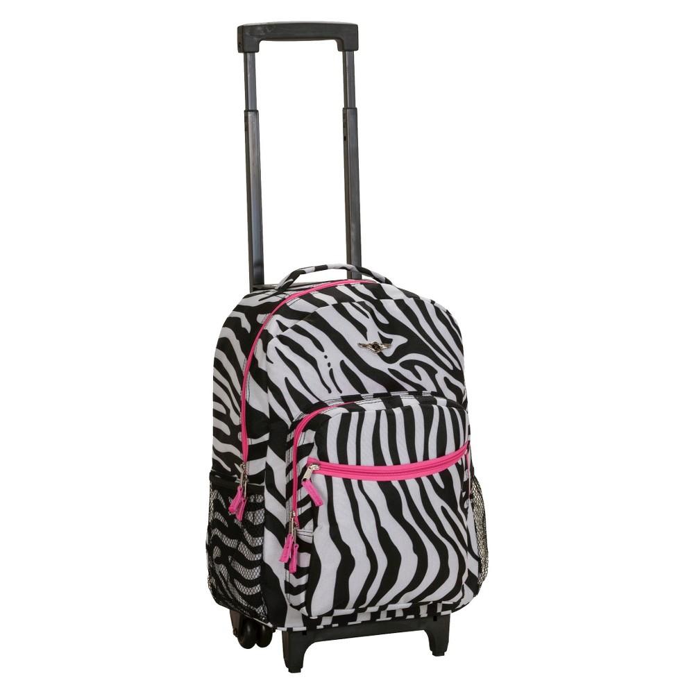 Rockland 17 Roadster Rolling Backpack Black Pink