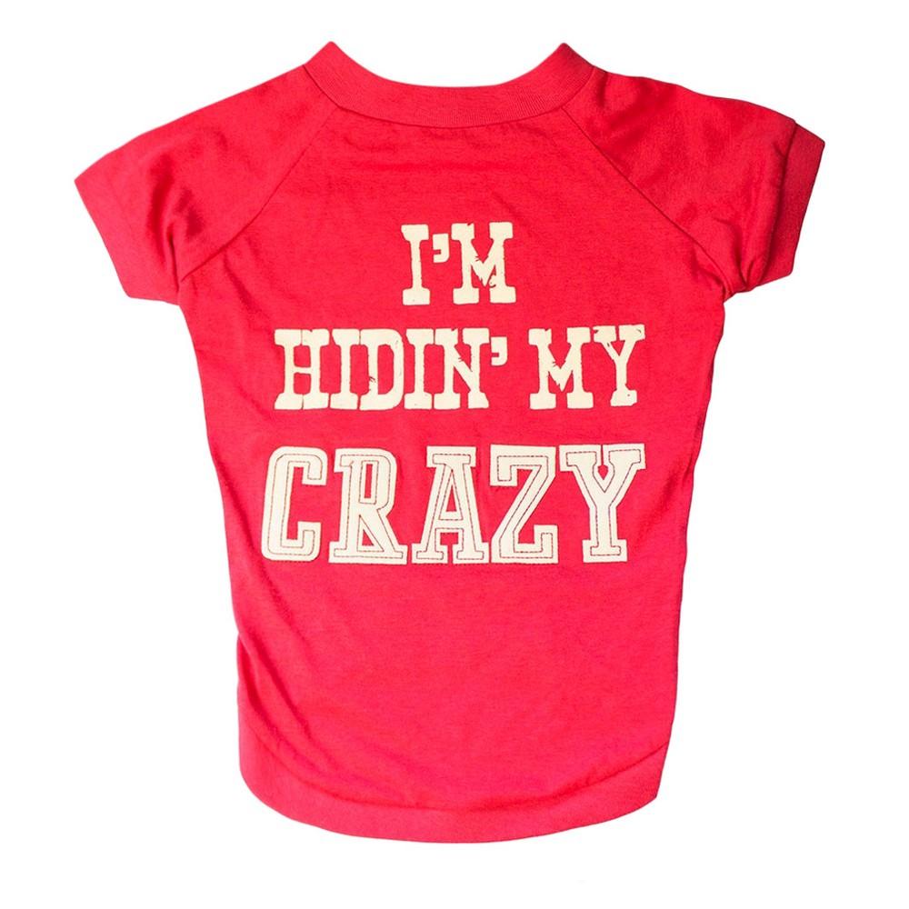 Mutt Nation Miranda Lambert's Dog T-Shirt - I'm Hiding My Crazy - M, Red