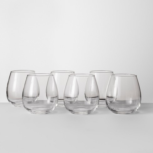 16oz 6pk Glass Stackable Stemless Wine Glasses - Made By Design™ - image 1 of 4