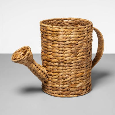 """10"""" x 7.5"""" Watering Can Shaped Water Hyacinth Woven Basket Natural - Opalhouse™"""