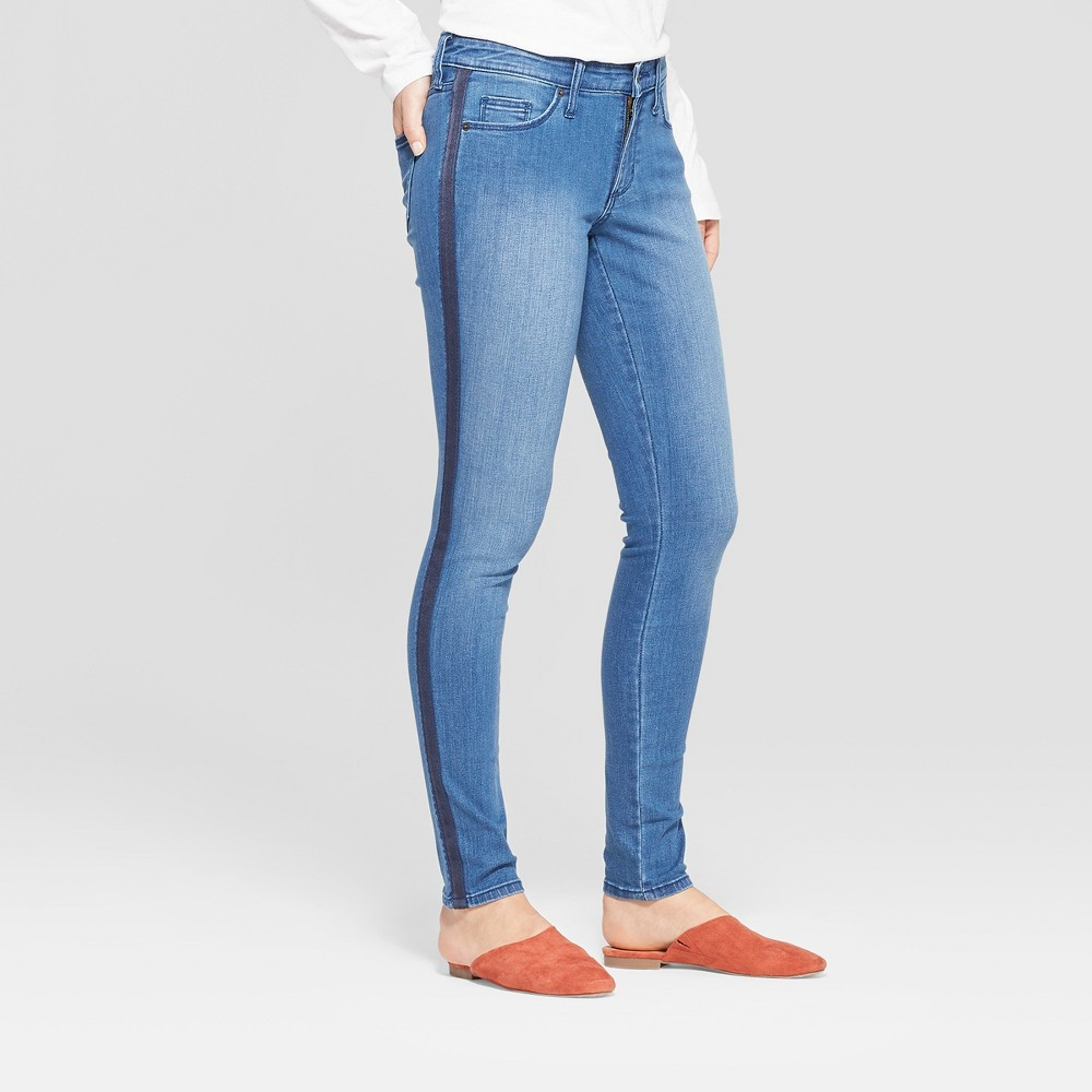 Women's Mid-Rise Skinny Jeans - Universal Thread Medium Wash 8 Long, Blue