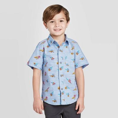 Toddler Boys' Short Sleeve Woven Dino Button-Down Shirt - Cat & Jack™ Blue 18M