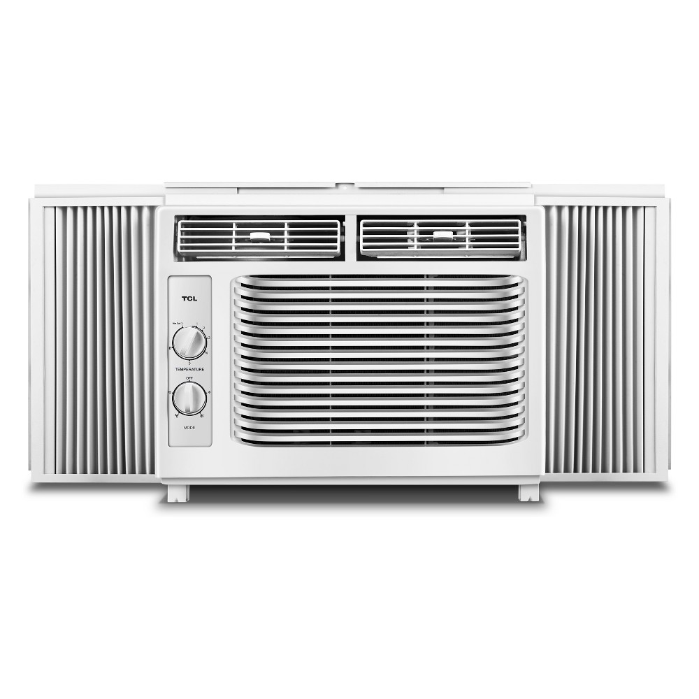 Tcl 17.12X17.91 X15.82  Air Conditioners White Window air conditioners from Tcl are the best way to beat the heat for anyone without a central cooling system. This 5,000 Btu window air conditioner will cool up to 150 sq.ft. In addition to simple setup and easy maintenance, this air conditioner has easy-to-use mechanical dials and is backed by a 1-year parts and labor warranty. Color: White.