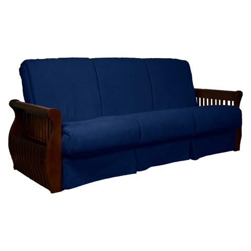 Storage Arm Perfect Futon Sofa Sleeper Walnut Wood Finish Dark Blue - Epic Furnishings - image 1 of 2