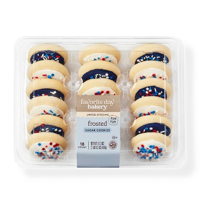 Blue & White Frosted Sugar Cookies - 18ct - Favorite Day™