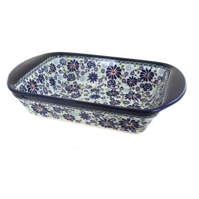 Blue Rose Polish Pottery Fantasy Large Rectangular Baker
