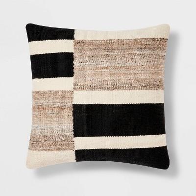 Oversized Blocked Woven Square Throw Pillow Black - Threshold™
