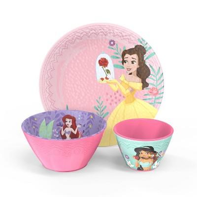 Disney Princess 3pc Melamine Dinnerware Set - Zak Designs