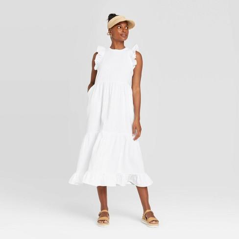Women's Sleeveless Tiered Ruffle Dress - Universal Thread™ White M - image 1 of 3