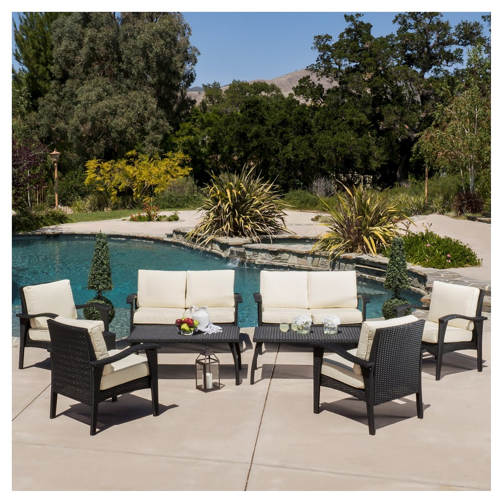 Waikiki 8pc Wicker Patio Seating Set & Cushions - Black - Christopher Knight Home