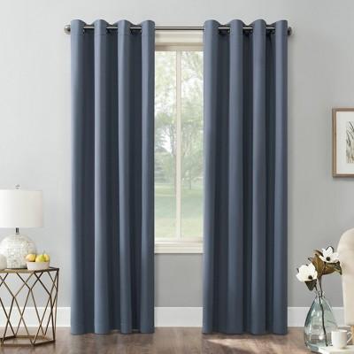 "95""x54"" Kenneth Energy Saving Blackout Grommet Top Curtain Panel Blue - Sun Zero"
