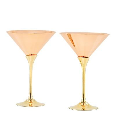 Old Dutch 9oz 2pk Copper Martini Glasses with Brass Stems