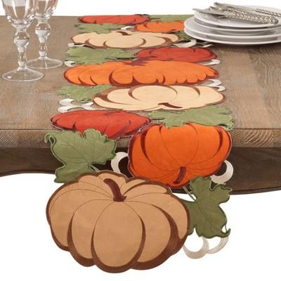 Green Red And Orange Pumpkin Table Runner - Saro Lifestyle