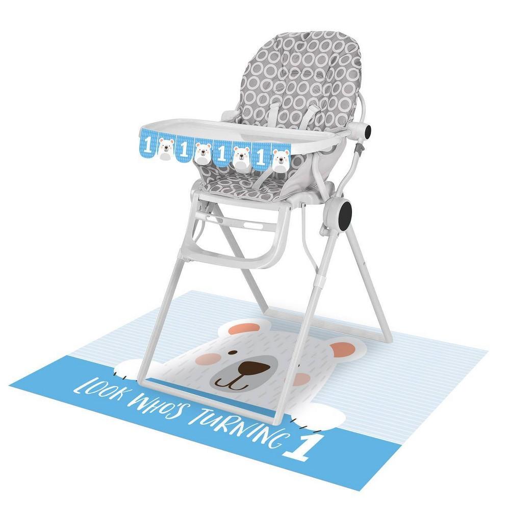 1st Birthday Bear Print High Chair Kit