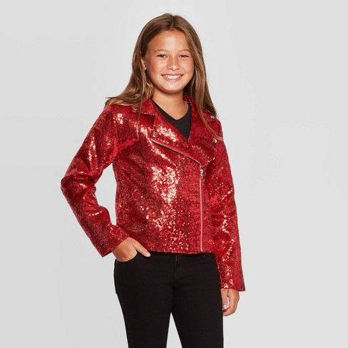 Girls' Nickelodeon JoJo's Closet Sequin Moto Jacket - Red - image 1 of 3