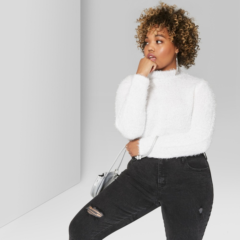 Women's Plus Size Cropped Fuzzy Crop Mock Neck Sweater - Wild Fable Fresh White 2X