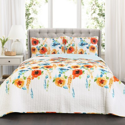Full/Queen Percy Bloom Quilt Set Tangerine/Blue - Lush Décor