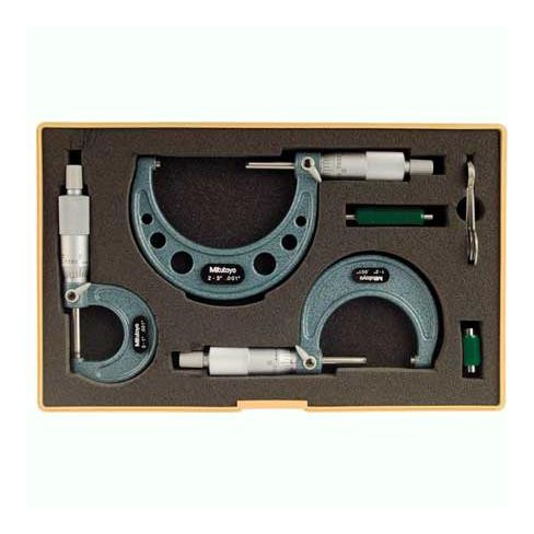 MITUTOYO 103-929 Micrometer Set,0-3 In,0.001 In,3Pc - image 1 of 1