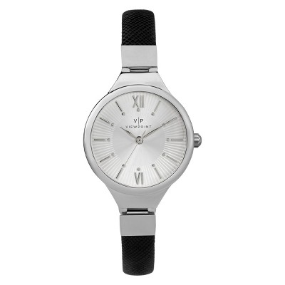 Women's Viewpoint By Timex Watch With Faux Leather Strap - Black CC3D79500TG