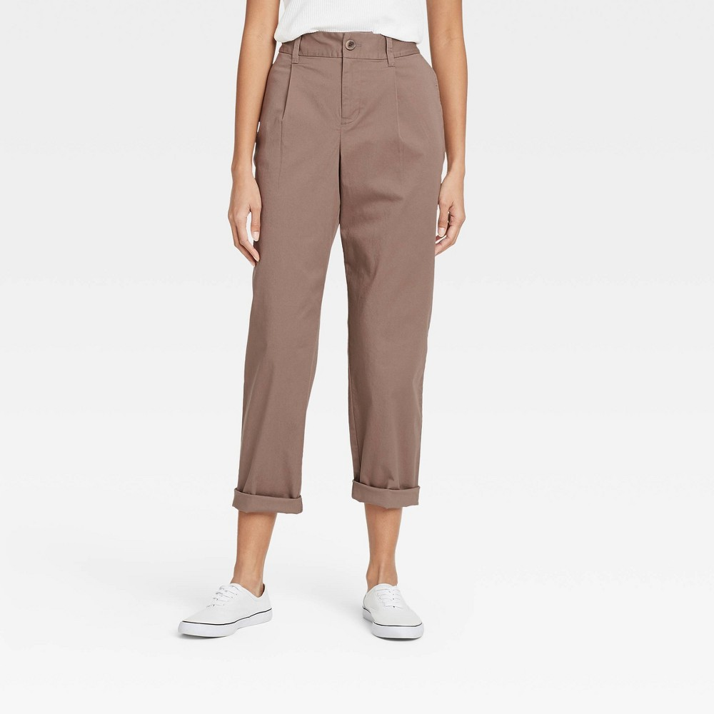 Women 39 S High Rise Pleat Front Straight Leg Ankle Pants A New Day 8482 Brown S