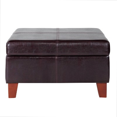 Luxury Large Faux Leather Storage Ottoman - HomePop