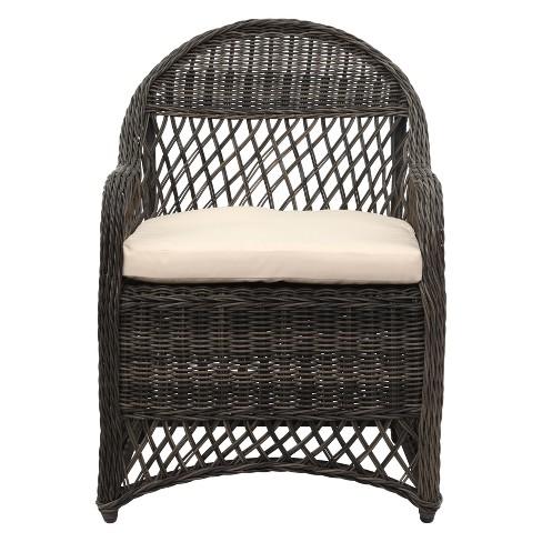 Davies Wicker Arm Chair With Cushion - Safavieh - image 1 of 4